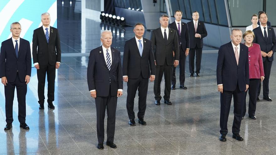Algunos de los líderes políticos asistentes a la cumbre de la OTAN, el 14 de junio de 2021.