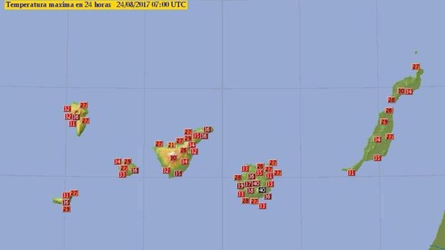 Mapa de la Aemet con las temperaturas más altas de la noche del miércoles en Canarias