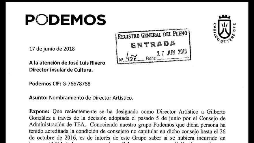 Escrito presentado por Podemos sobre la polémica elección de Gilberto González