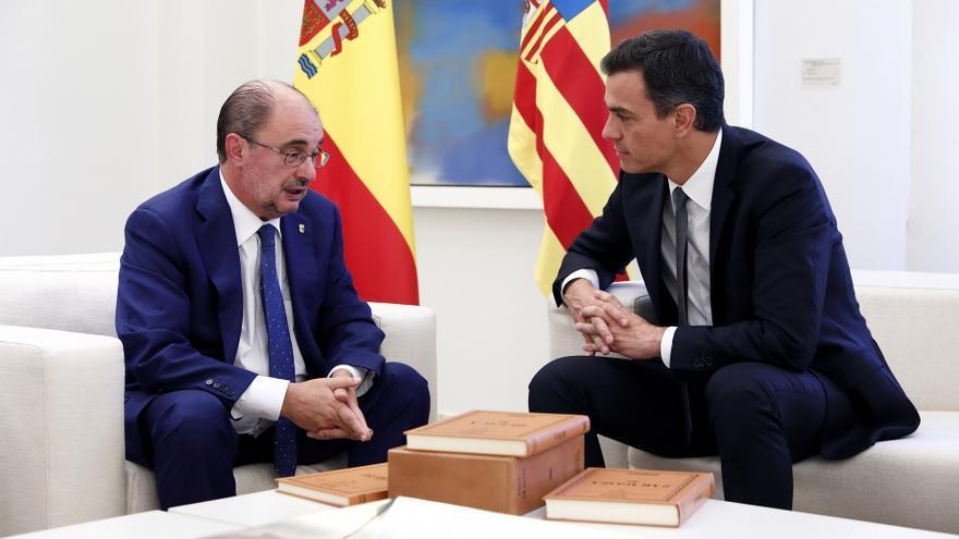Es la primera visita oficial de Javier Lambán a La Moncloa desde que gobierna Pedro Sánchez