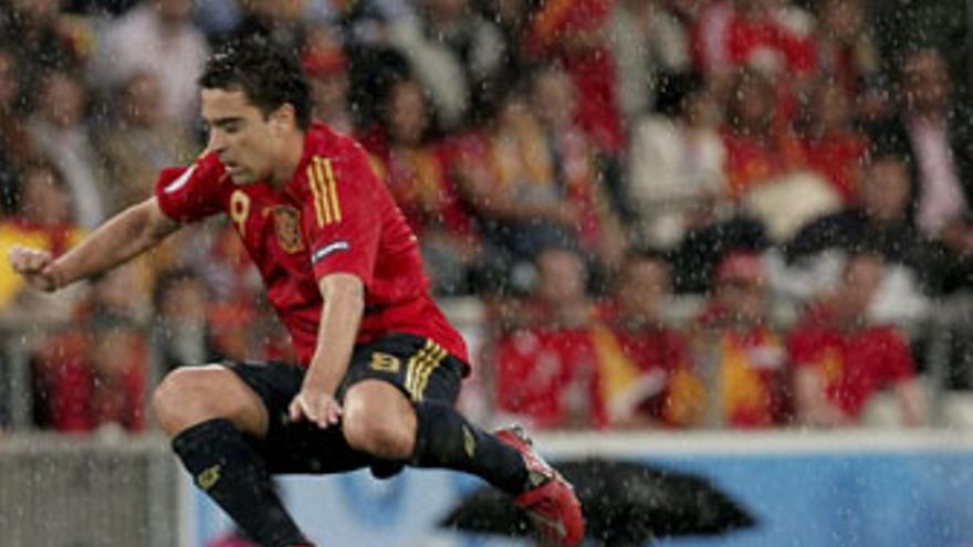 Xavi, durante un partido de la Eurocopa 2008, donde fue elegido mejor jugador del torneo.