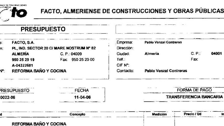 Presupuesto de Facto a Pablo Venzal