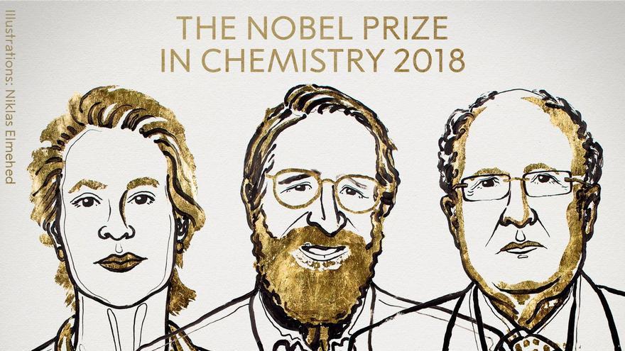 Los tres premiados: de izquierda a derecha, Frances H. Arnold, George P. Smith y Sir Gregory P. Winter