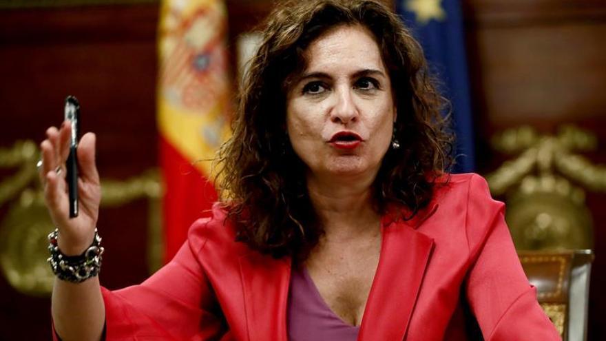 La ministra de Hacienda, María Jesús Montero, durante una rueda de prensa.