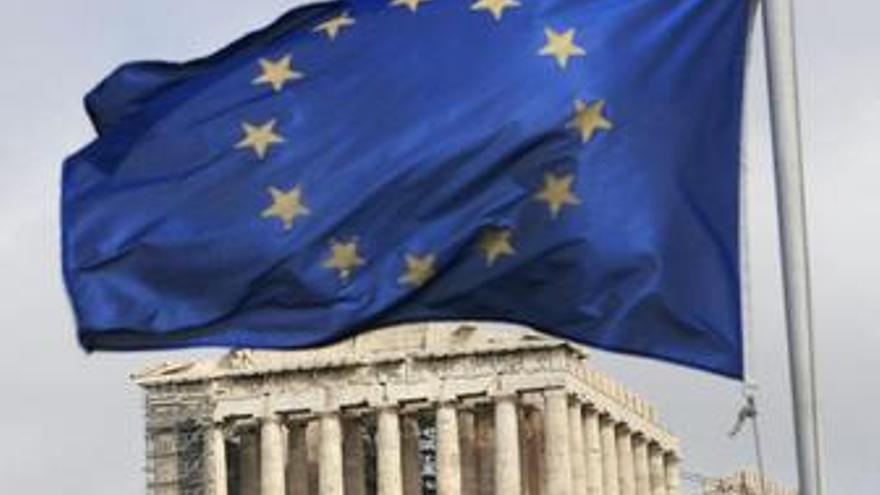 Recurso del Partenón de Atenas con la bandera de la UE