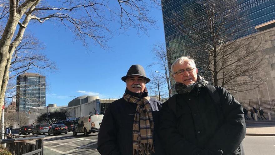 El alcalde de València, Joan Ribó (derecha) con Enrique Yeves, de la dirección de FAO en la sede de la ONU