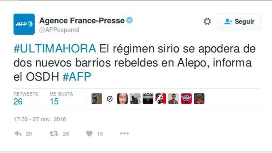 Captura de un tuit de Agence France-Presse