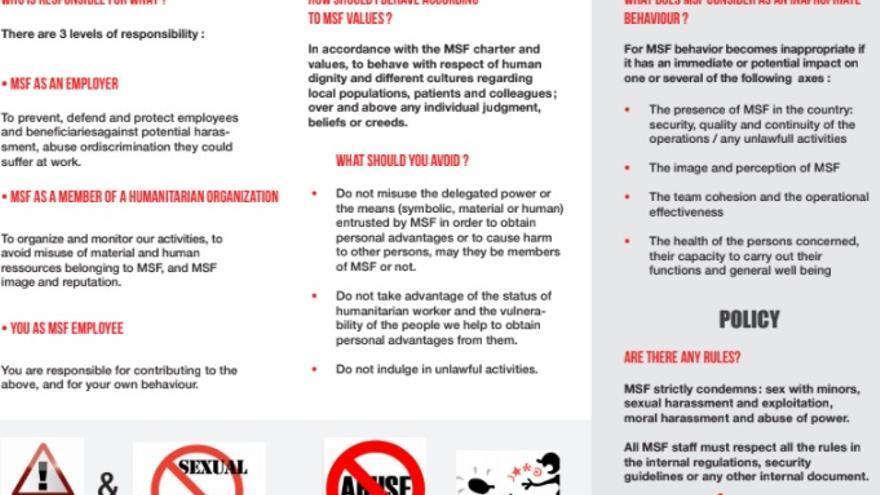 Folleto de MSF para evitar el incumplimiento de su código de conducta, que incluye la prohibición del acoso