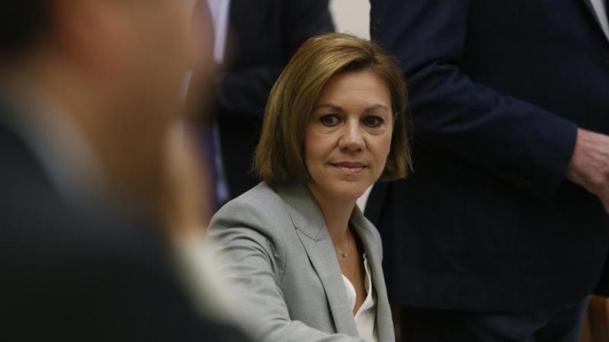 La ministra de Defensa, María Dolores de Cospedal, durante su declaración ante la comisión de investigación de la financiación del PP.