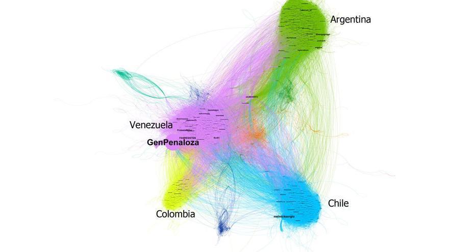 Gráfico que muestra la propagación en Twitter del bulo con una imagen falsa de Evo Morales con Pablo Escobar y Chapo Guzmán.