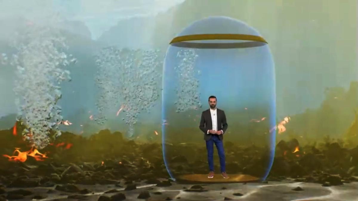 Recreacón del fondo del mar en el vídeo de la TV Canaria