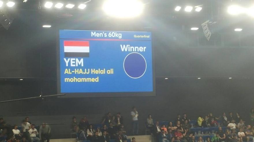 Imagen del marcador durante la victoria del campeón de Kung-fu yemení en los Juegos Olímpicos de Solidaridad Islámica en Azerbaiyán en 2017.