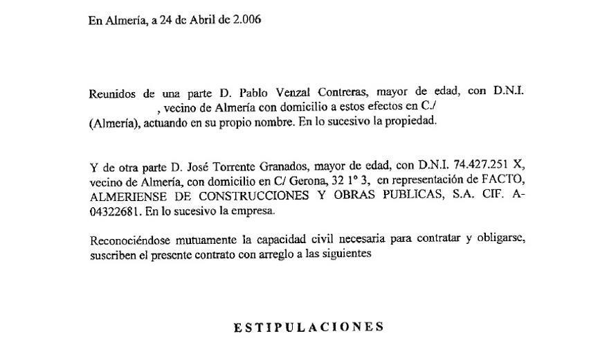 Contrato entre Pablo Venzal y Facto (se ha suprimido DNI y dirección)