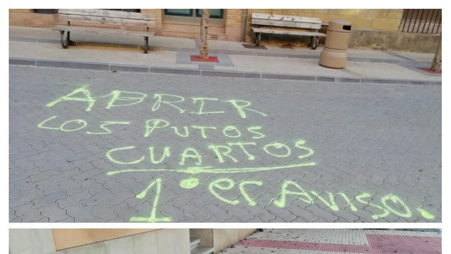 Pintadas en Cintruénigo contra el cierre de las bajeras y contra María Chivite