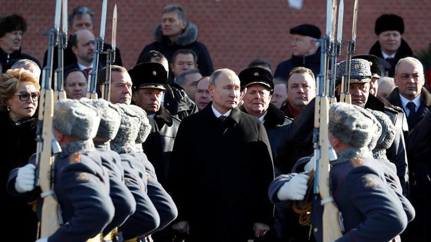 Putin en la celebración del Día de los Defensores de la Patria el 23 de febrero.