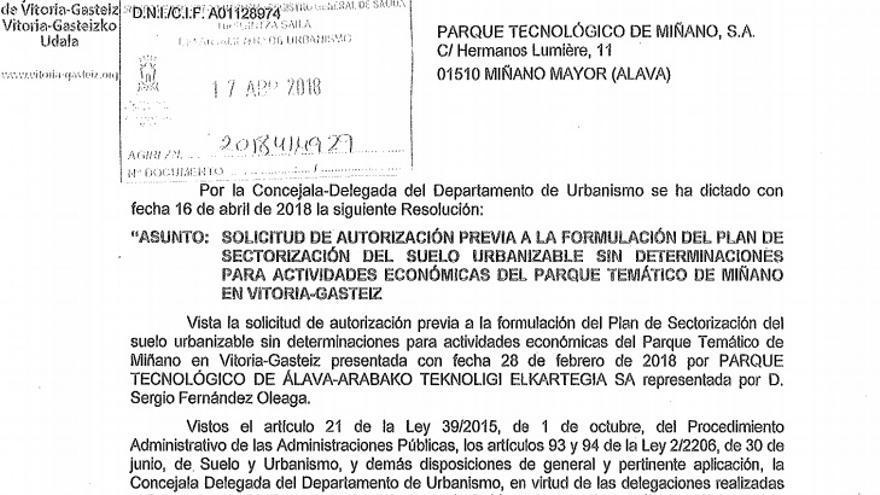 Documento oficial en el que consta Sergio Fernández Oleaga (Stoa) como representante de Miñano