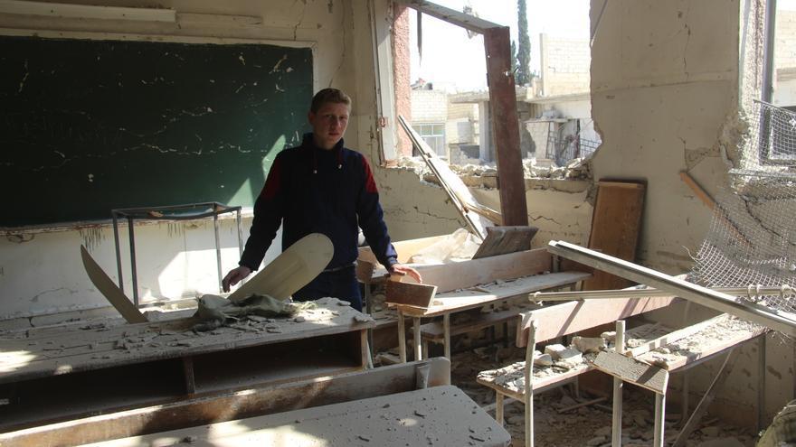 Aulas de un colegio bombardeado en Ghouta oriental.