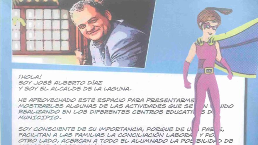 Saludo del alcalde de La Laguna, José Alberto Díaz, en las primeras páginas del cómic de Súper Dácil.