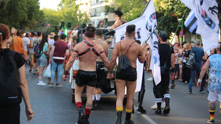 Dos jóvenes cogidos de la mano por las calles de Sevilla, durante la manifestación del Orgullo gay.