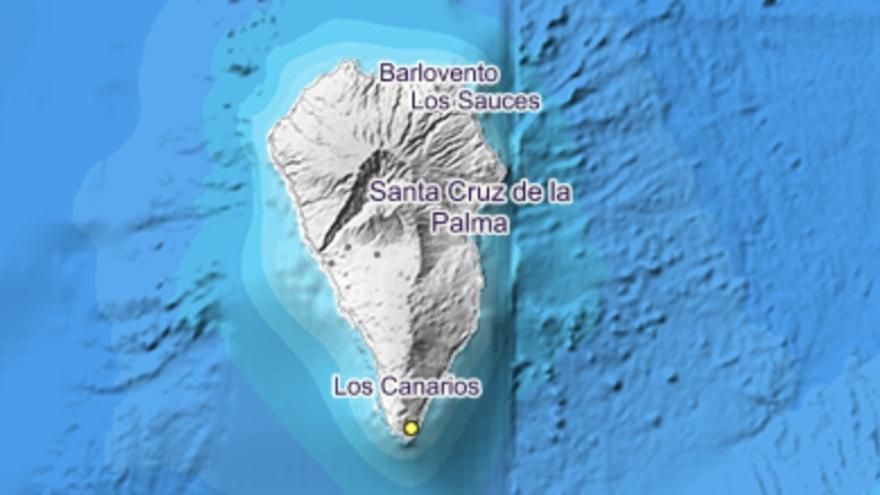 Imagen del IGN donde se indica el lugar exacto en el que se ha localizado el movimiento sísmico este jueves, 28 de noviembre, en el municipio de Fuencaliente.