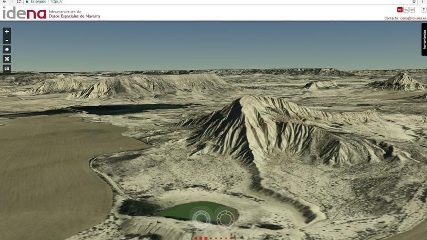 El visor de IDENA ofrecerá este año mapas e imágenes en 3D del territorio de Navarra