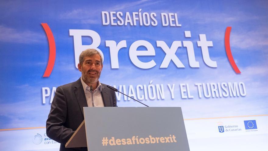 Fernando Clavijo, durante su intervención en la jornada sobre el 'brexit', en Santa Cruz este martes