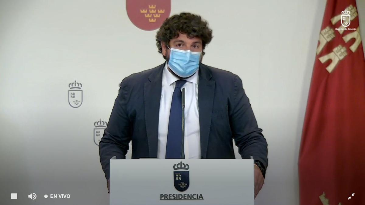 Fernando López Miras, este viernes, durante la rueda de prensa