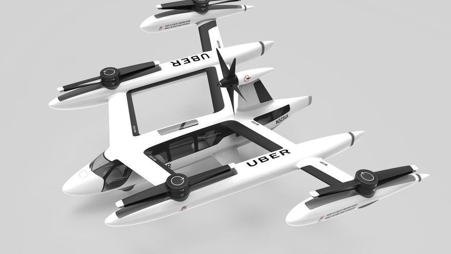Prototipo de taxi volador presentado por Uber.