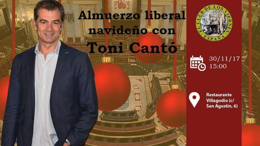 Toni Cantó asiste a una comida organizada por la organización de ultraderecha 'El Club de los viernes'