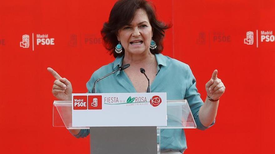 """Carmen Calvo destaca el papel del PSOE al """"quitar presión"""" en Cataluña"""