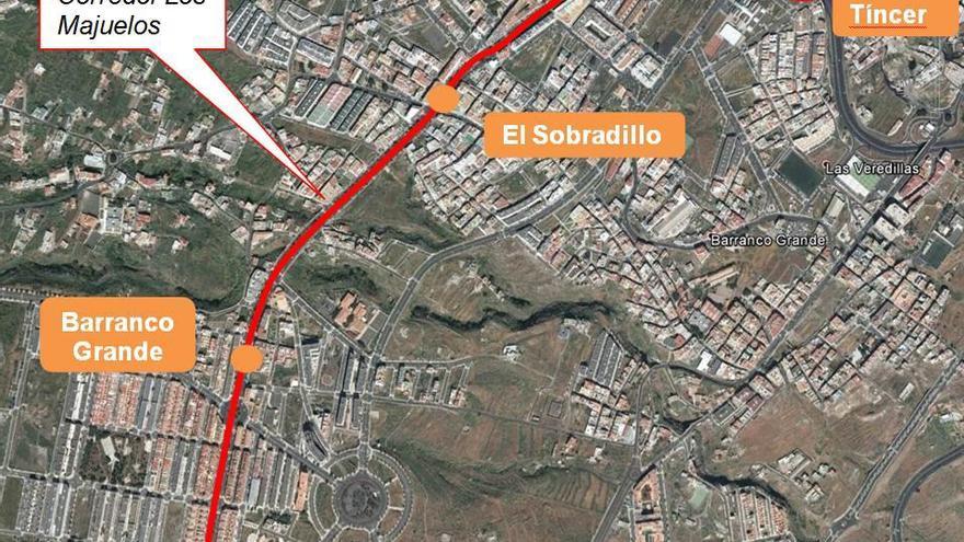 Recorrido proyectado para la extensión de la línea 2, a su paso por La Gallega