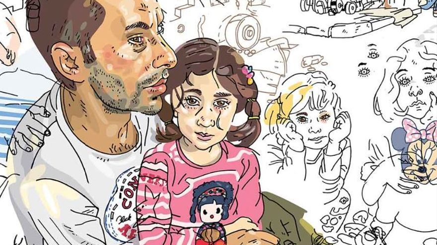 Rezan, que era diseñador de moda en Kobane, sostiene en brazos a su sobrina Rocca