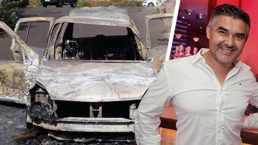 Vehículo calcinado desde el que dispararon a Carlos Machín, asesinado en La Laguna