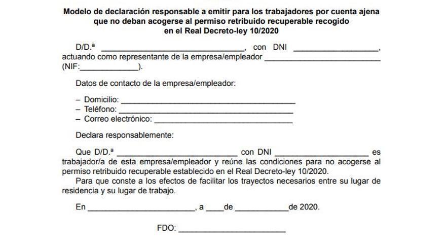 Modelo de declaración responsable para poder acudir al trabajo recogido en el BOE