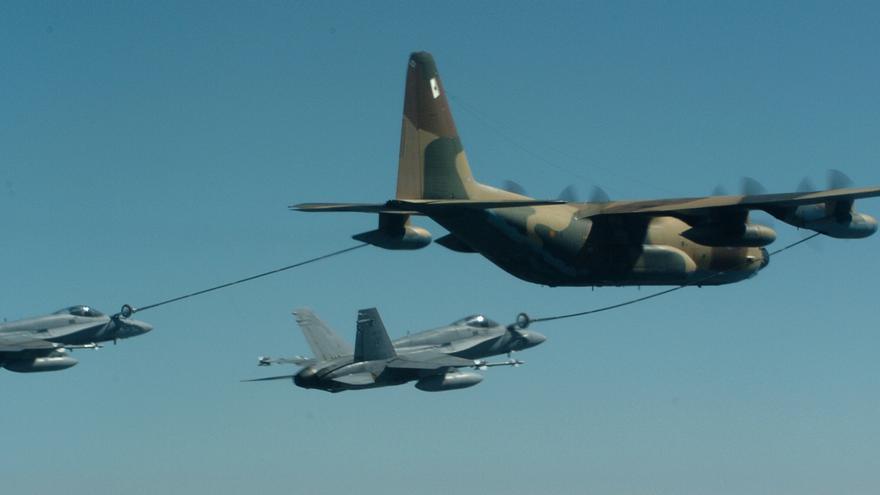 Imagen de un repostaje aéreo.