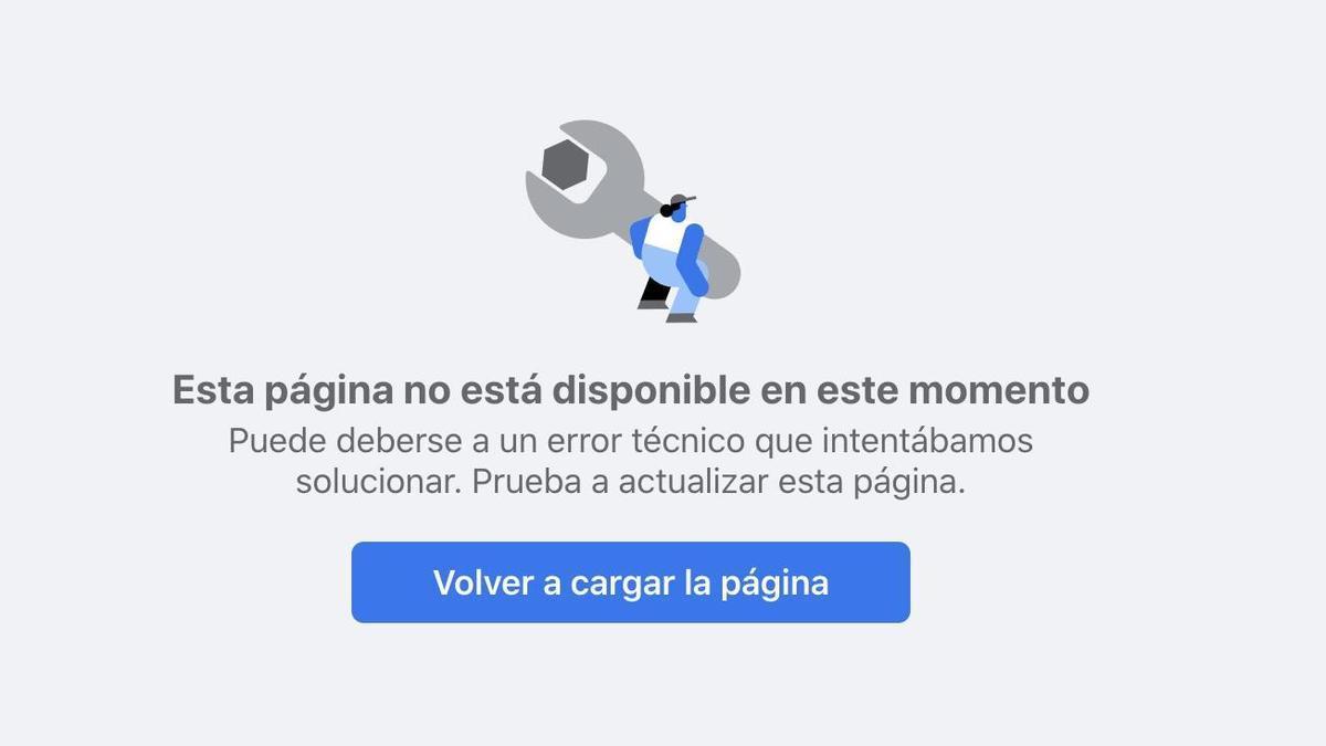Mensaje de error en la web de Facebook