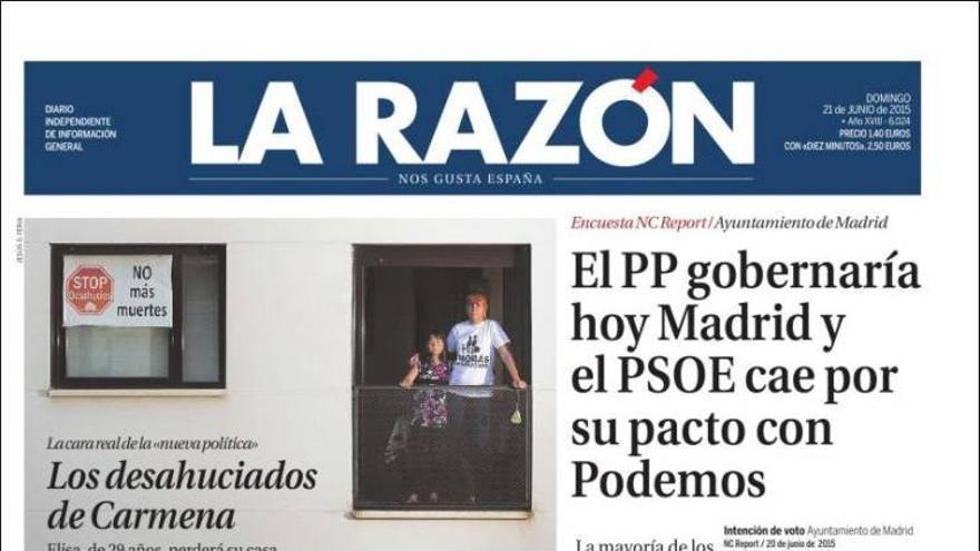 Portada de 'La Razón' del 21 de junio.
