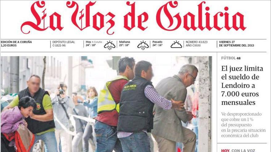 Portada de La Voz de Galicia dedicada a las investigaciones sobre la muerte de la niña