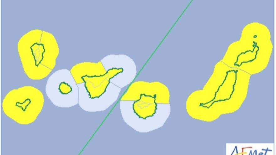Mapa de la Aemet del aviso de riesgo amarillo por lluvia, viento y oleaje para este sábado, 11 de febrero de 2017.