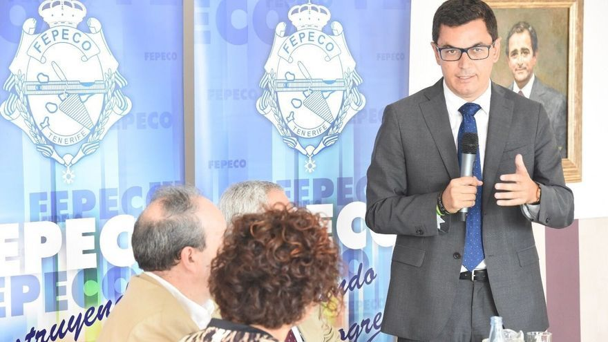 Pablo Rodríguez se dirige a los empresarios de la construcción, este martes en Santa Cruz