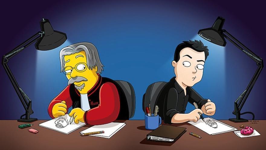 Matt Groening y Seth MacFarlane, en una ilustración creada para la revista EW
