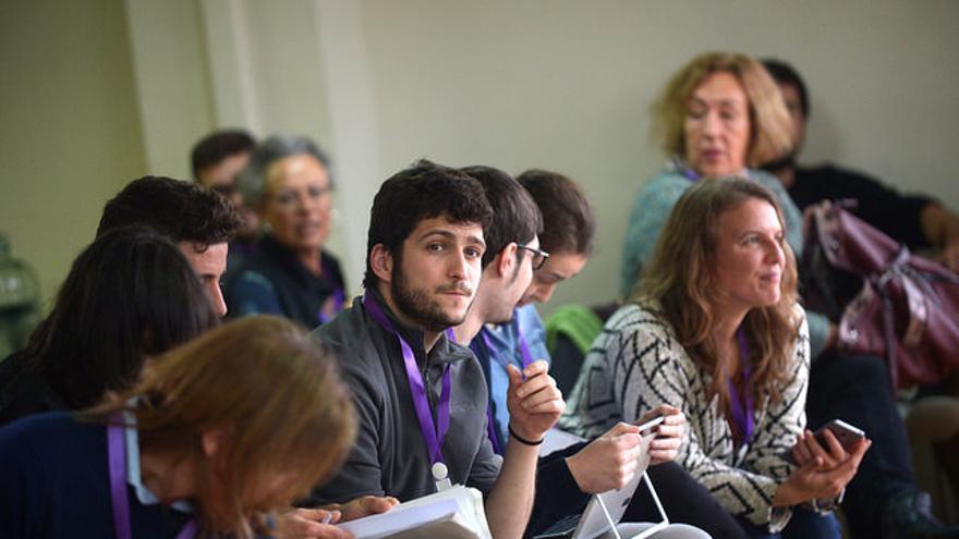 El secretaria general de Podemos Comunitat Valenciana, Antonio Estañ, durante el Consejo Ciudadano del 10 de marzo.