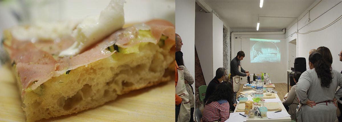 Díptico pizza de mortadella, horno de leña napolitano y abriendo botella_Malasaña a mordiscos_La Hoja de Albahaca