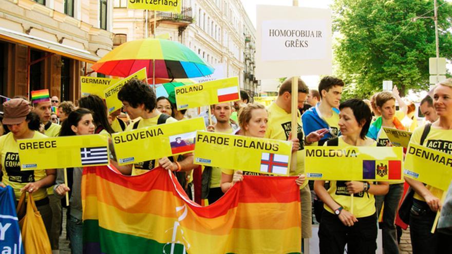 Manifestación del Orgullo Gay en Riga, Letonia, 2008 © Amnistía Internacional