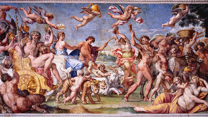 Triunfo de Baco y Ariadna. Roma, Palazzo Farnese, frescos de Carracci (1597-1602). (cc) Wikipedia Commons