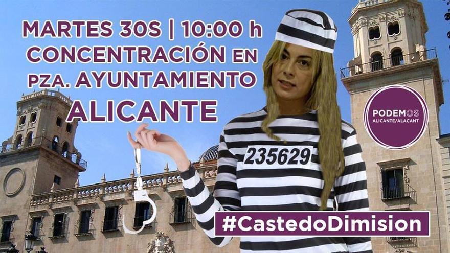Cartel de la convocatoria de Podemos por la dimisión de Sonia Castedo.