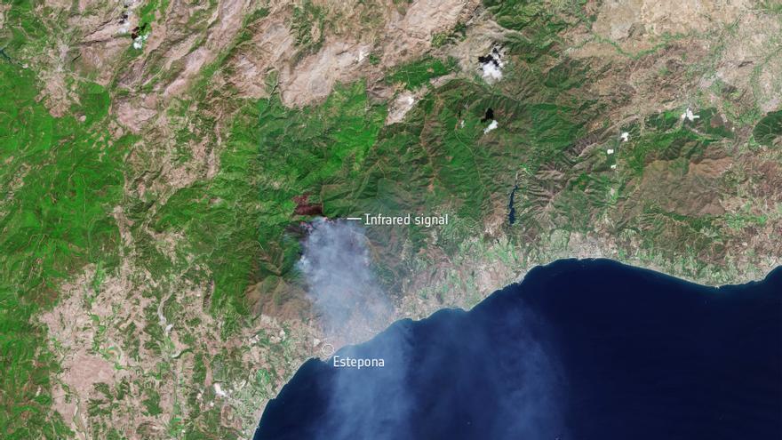 El incendio de Estepona visto desde el satélite Sentinel-2