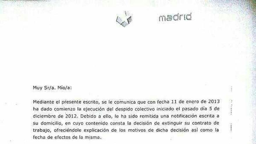 Carta que reciben los trabajadores de Telemadrid en la que se anuncia que recibirán el despido en su casa