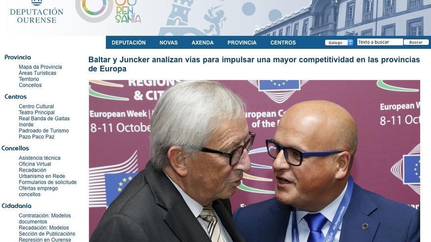 """Nota de prensa e imágenes divulgadas por la Diputación de Ourense sobre el """"encuentro"""" de Baltar con Juncker en octubre"""
