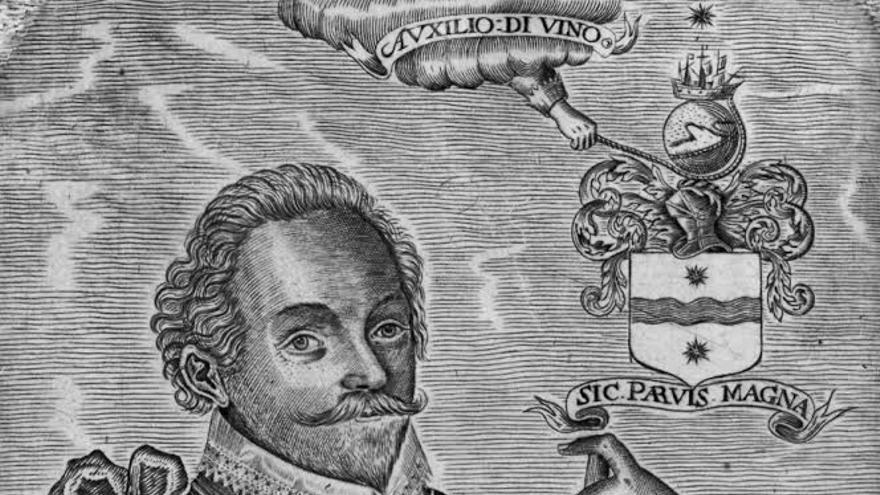 Retrato del corsario Francis Drake.